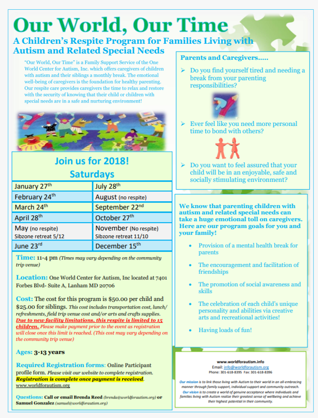 For Parents Of Autistic Kids 22nd >> Our World Our Time Children S Respite The One World Center For Autism