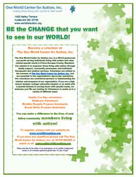 Become a autism volunteer at the One World Center for Autism